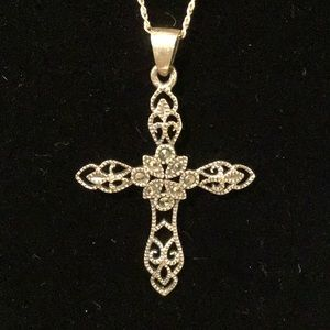 Jewelry - Marcasite 925 Cross ✝️ Necklace EUC BEAUTIFUL!